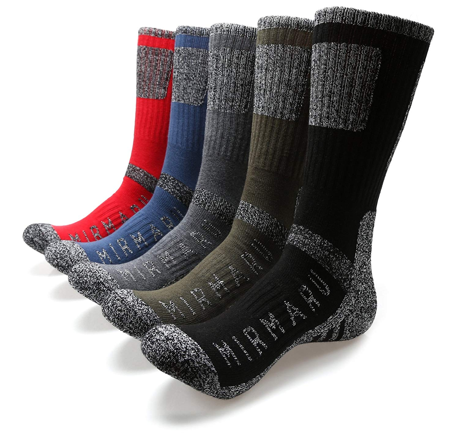 MIRMARU Men's 5 Pairs Multi-Performance Outdoor Sports Hiking Trekking Crew Socks best hunting socks for cold weather